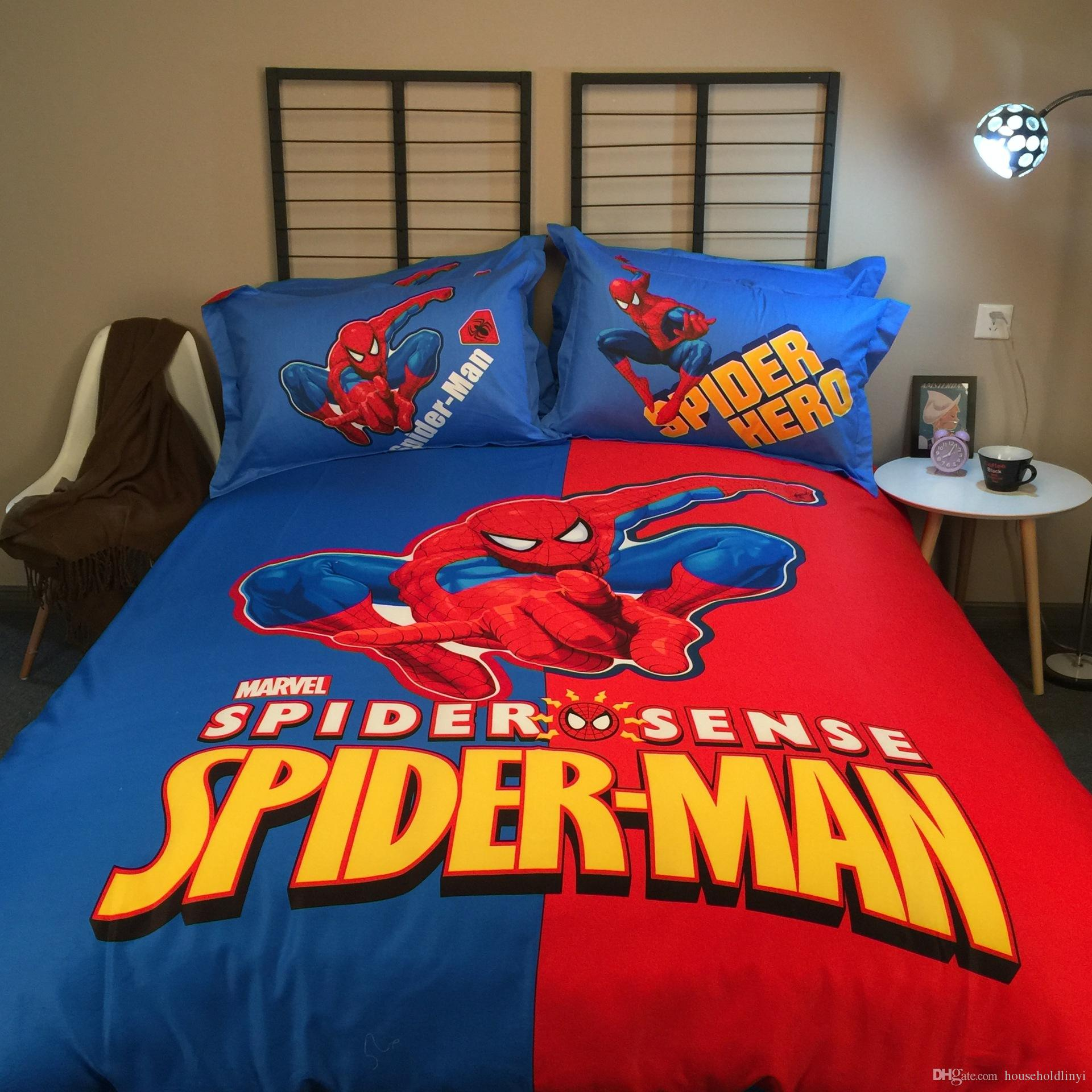 Cotton Spiderman 3d Bedding Set Bed Sheets Sets Bedding Luxury Bedding Hero  Theme Hotel Bed Linen Bed Sheets Duvet Linen Covers Bedding Sets Sale Teens  ...