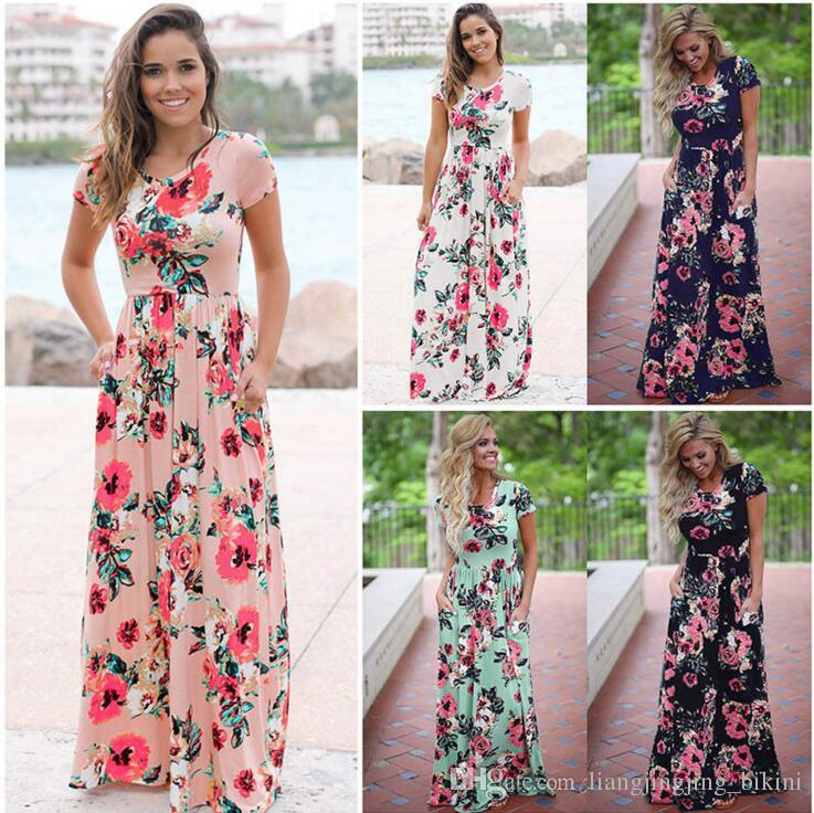 Women Floral Print Short Sleeve Boho Dress Evening Gown Party Long Maxi Dress Summer Sundress OOA3238