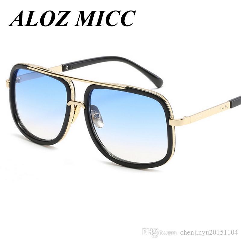 4b1b9f23db0 ALOZ MICC Flat Top Hot Square Sunglasses Men Women Luxury Brand ...