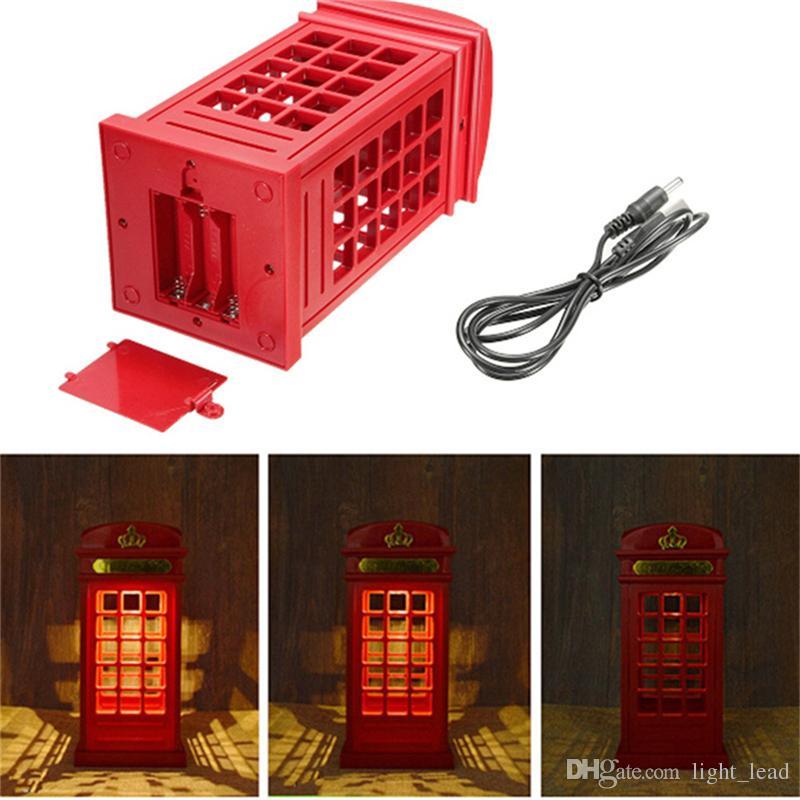 London Phone Booth Lampada da comodino a LED dimmerabile Lampada da comodino a LED Touch Sensor Luce USB la decorazione della camera da letto del ristorante di casa