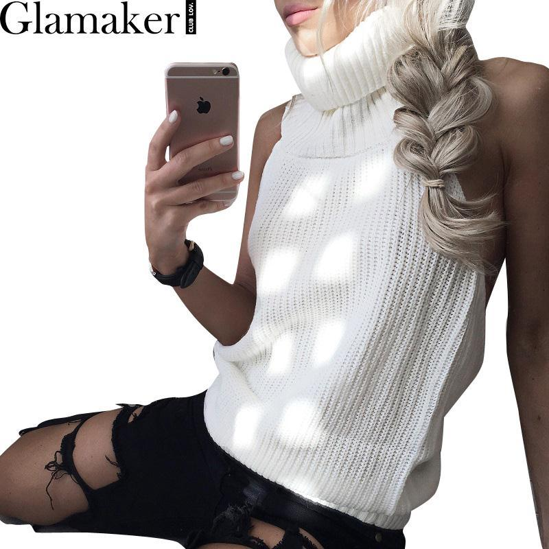 Sleeveless Turtleneck Sweater Women Autumn Winter Backless Off ...