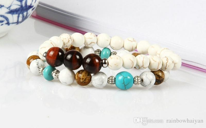 New Designs Beaded Fashion Bracelet Wholesale 10mm Natural Red Tiger Eye Stone Beads White Bracelet for men
