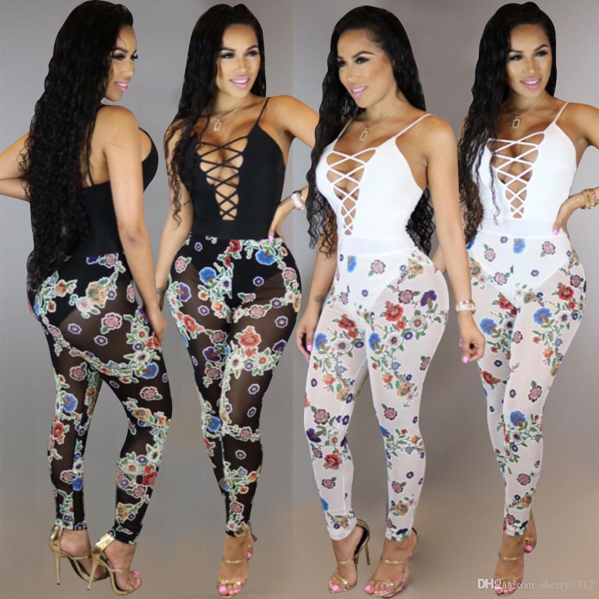 2017 Translucent Mesh Sexy Printed Jumpsuit Overalls Vest Rompers ... d8bf2c9d2