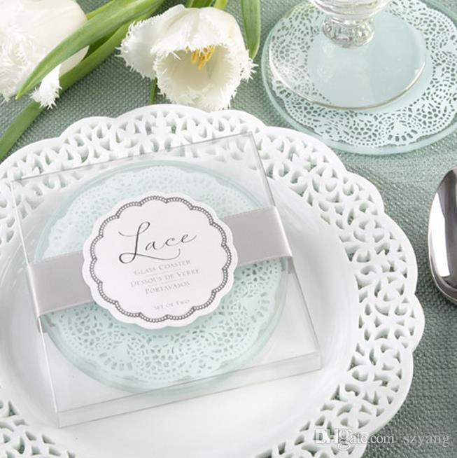 Lace Exquisite Frosted Glass Coasters Set of 2 wedding favors and gifts = Total