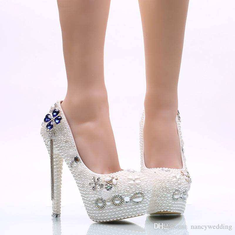 Gelin Düğün Ayakkabıları Beyaz Inci Kadın Elbise Ayakkabı Kız Yetişkin Töreni Ayakkabı Yüksek Topuk Doğum Günü Balo Pompaları Artı Boyutu 45