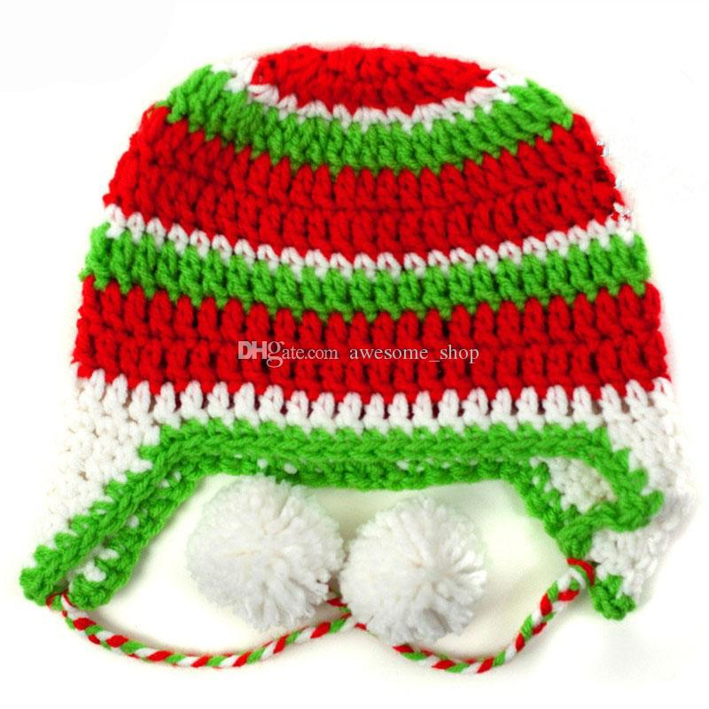 Adorable Santa Elf Pompom Hat,Red Green White Striped Earflap Cap,Handmade Crochet Baby Boy Girl Christmas Winter Hat,Toddler Photo Prop