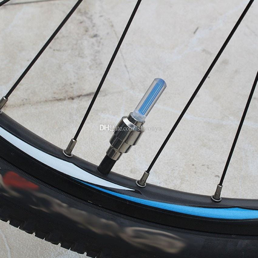 Bike Bicycle Cycling Copious Type Wheel Tire Valve Cap Spoke Core Gas Nozzle Neon LED Warning Safety Lamp Lights