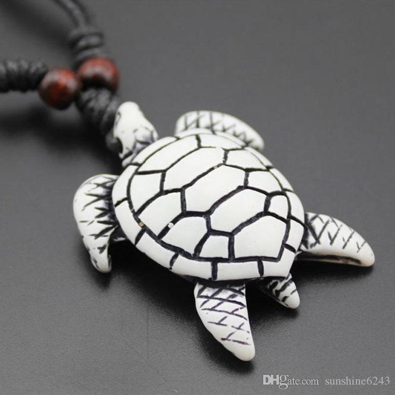 Wholesale 12PCS Cool Imitation Yak Bone Carving Hawaiian Surfing Sea Turtles Pendant Wood Beads Cord Necklace Lucky Gift
