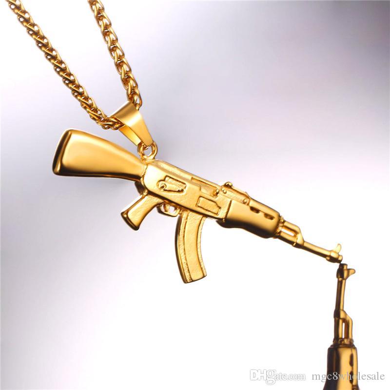 U7 Fashion Cool AK47 Assault Rifle Collana con pendente Hip Hop europeo Gioielli In acciaio inossidabile / Oro / Nero Placcato Gun gli uomini GP2467