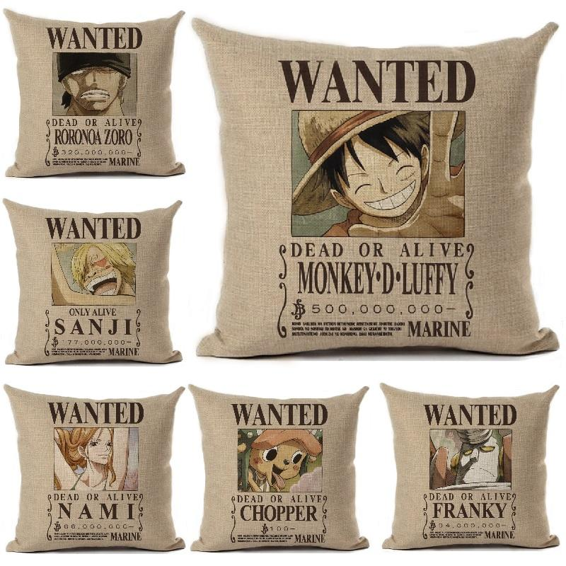 Wholesale Anime Cushion Cover Linen One Piece Wanted Printed Throw