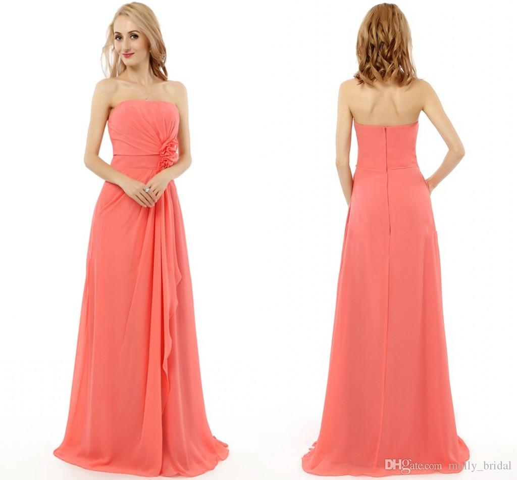 Coral Strapless Bridesmaid Dresses 2018 Hand Made Flower Pleats ...