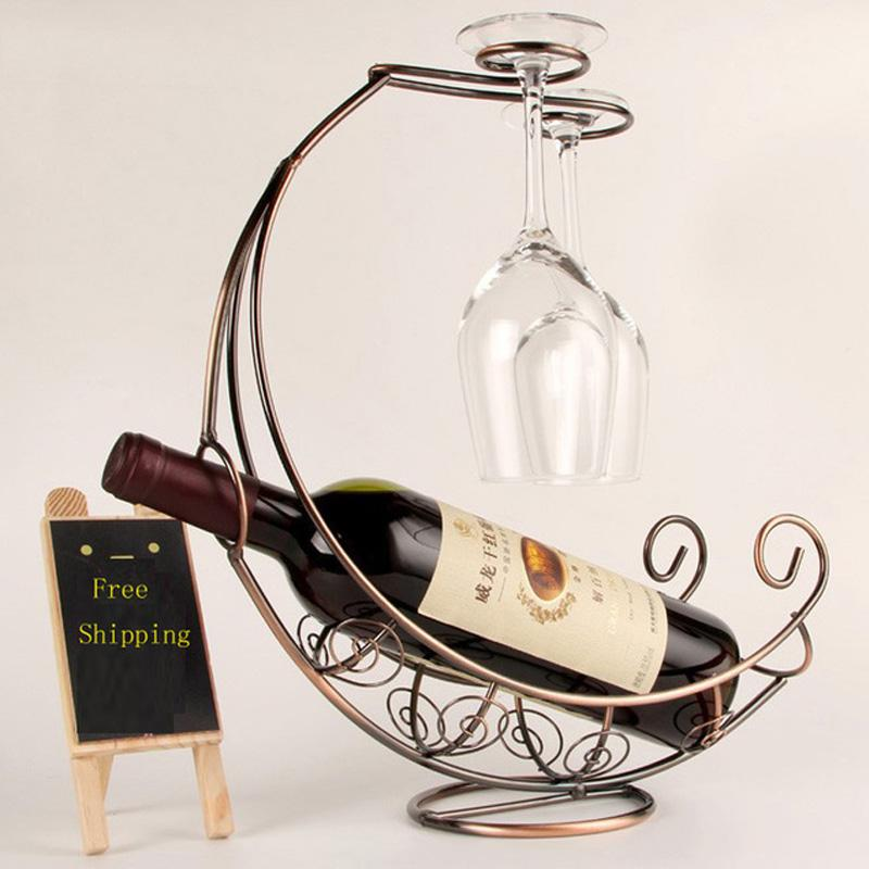 onnpnnq creative fashion metal wine rack hanging wine glass holder pirate ship shape bar wine holder hot selling from dhgate - Metal Wine Rack