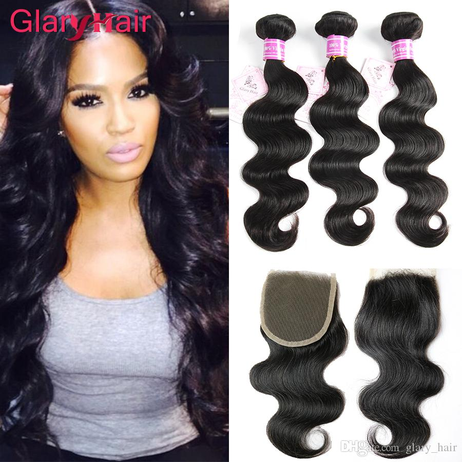 2018 Best Selling Glary Hair Products Brazilian Hair Extensions Remy