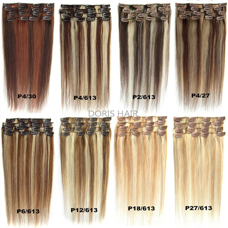 70g 100g 120g Blond Black Brown Silky Straight Brazilian indian Remy Clip in Human Hair Extensions