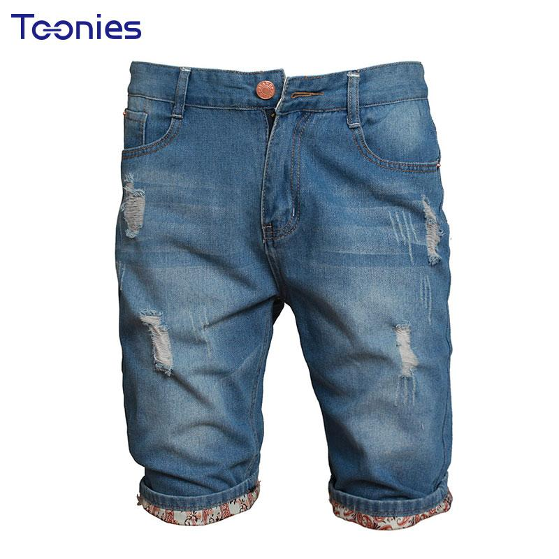 Acheter Jeans Shorts Hommes Hommes Denim Shorts Summer Knee Longueur Shorts  Homme Bermuda Hole New Fashion Casual Short Jeans Pantalon Homme Homme  Q170696 ... 1b43f0ccfe69