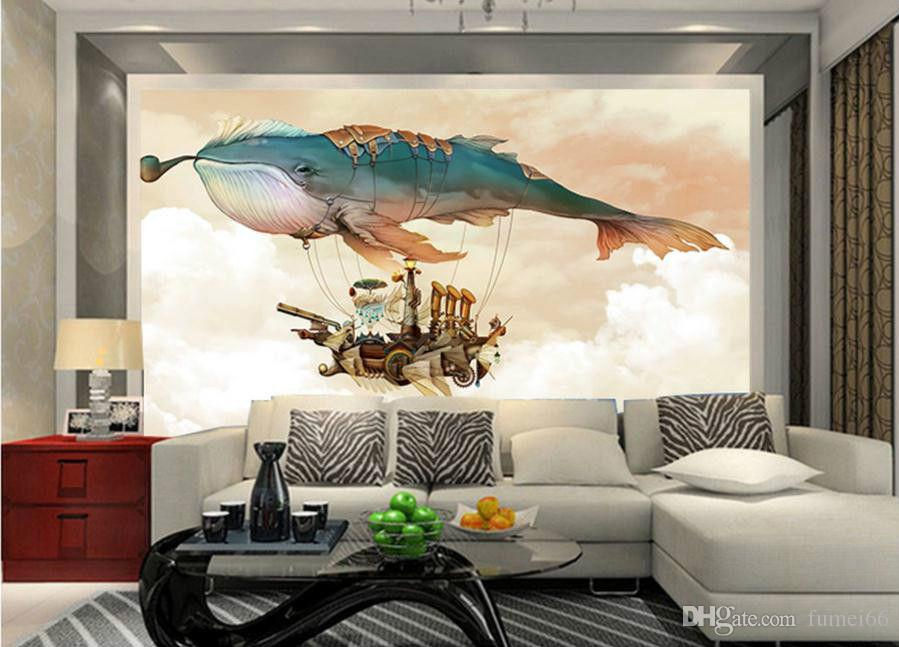 Large Mural Children Cartoon Big Fish Hot Air Balloon 3 D Visual Wallpaper  Home Decoration Wall Murals Images Wallpapers Imaging Wallpaper Desktop  From ...