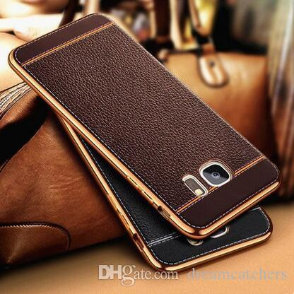 huge discount 6203a 75fee For Samsung Galaxy S8 Luxury Litchi Electroplating Leather TPU Case Rubber  Plating Back Cover for Samsung S8 plus S7 edge Note 5