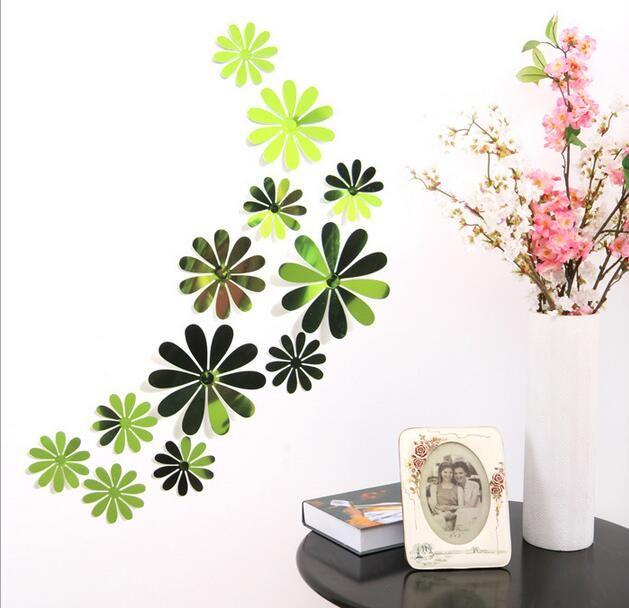 Three - dimensional mirror chrysanthemum art wall stickers children 's room wedding party wild simple decoration G708