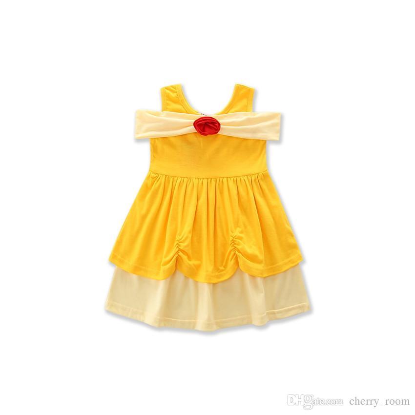 Summer Cartoon Baby Dress Girls Princess Dresses White Mickey Mermaid Bow Belle Children a-line dress C1703