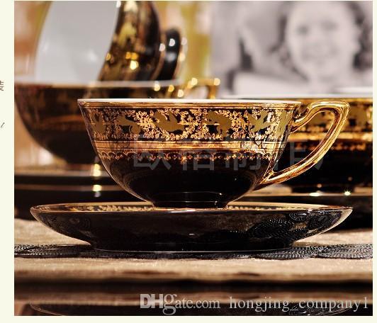 2017 Classic Porcelain Gold Flower Afternoon Tea New Bone china Mug European Ceramic Coffee Cup Saucer Tea Sets Tea Pot Jug Drinkware
