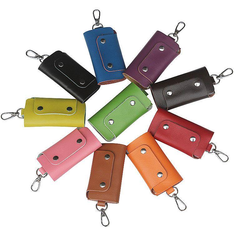 Горячие продажи большой емкости кошельки пряжки стиль искусственная кожа мода твердые цвета качество держатели ключей для мужчин женщин Бесплатная доставка