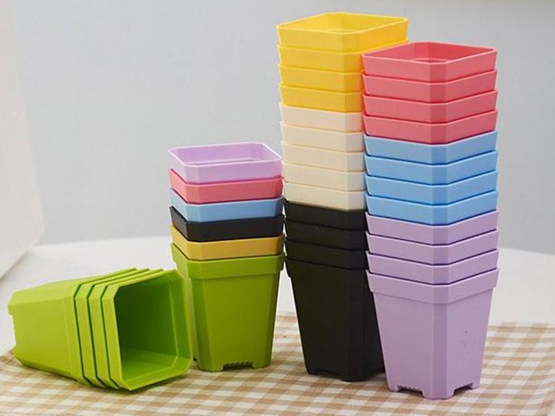 Fast shipping Bonsai Planters Plastic Table Mini Succulents Plant Pots and Plate Gardening Vase Square Flower Pot Colorful