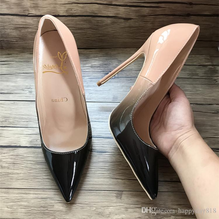 Real Photo Women Fashion Pumps Nude Black Patent Leather Point Toe High  Heels Thin Heel Boots Genuine Leather Sexy Lady Pumps Stacy Adams Shoes  Purple Shoes ... 3dd8a749f591