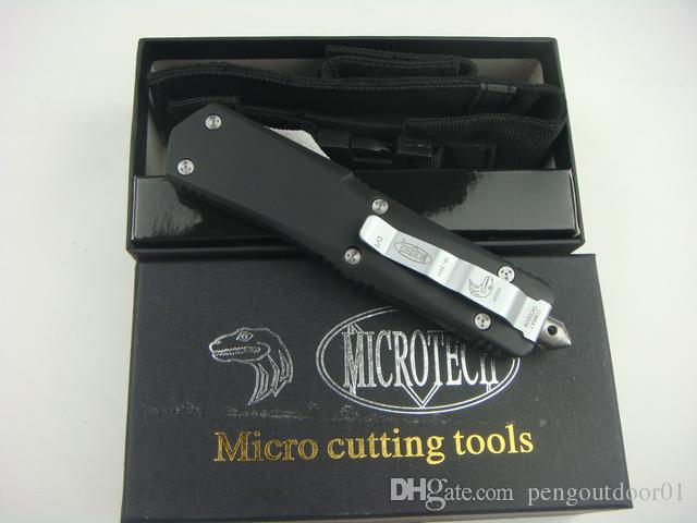 HOT MICRO TECH dobrável Damasco AÇO faca facas automáticas Damasco lâmina alúmen alça tactical camping survival faca ferramenta de corte