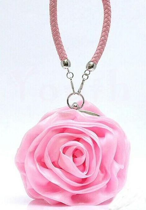 Süße 3D Rose Blume Handtaschen Seide Satin Plissee Floral Abendtaschen Frauen Mädchen Party Handtaschen Geldbörse Hochzeit Clutch Leder Band Handtasche