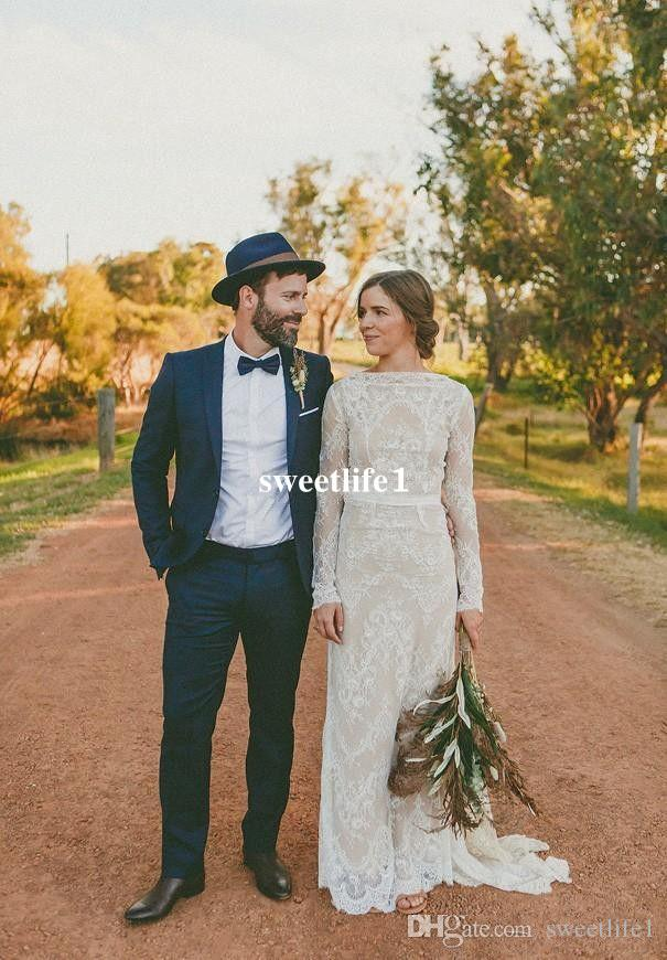 Элегантные длинные кружевные свадебные платья с длинным рукавом 2019 ювелирного шеи развертки поезд молния назад Boho Свадебные платья в стиле кантри на заказ