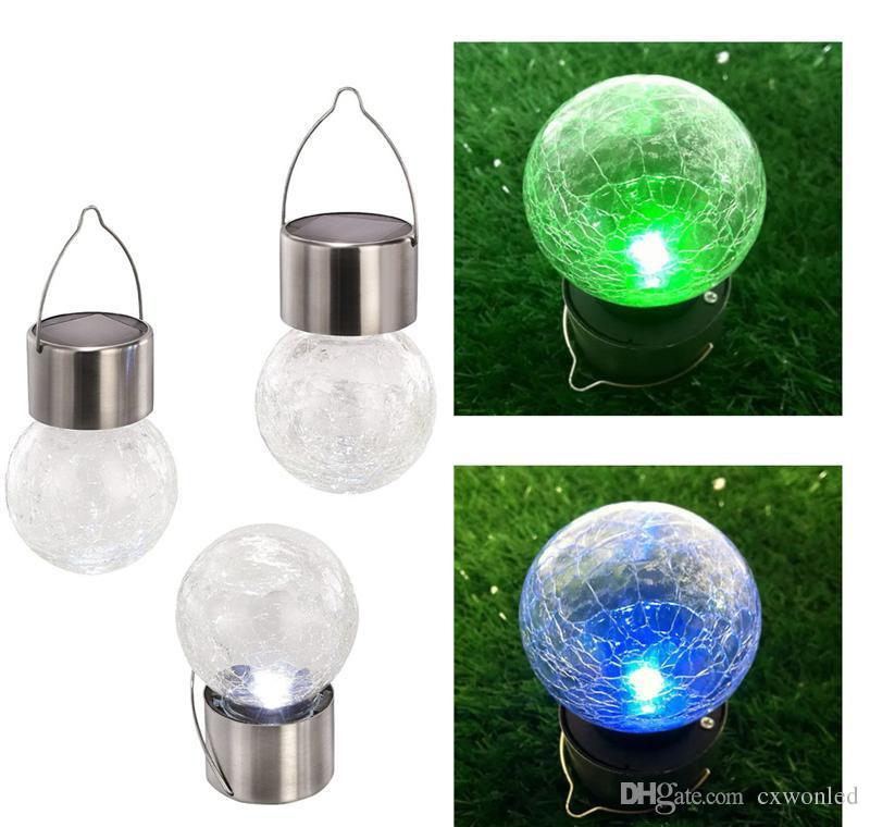 güneş pili Lights açık yarda tatil dekorasyon için Asma LED Crackle Glass chaning led top ışık rengini ameliyat