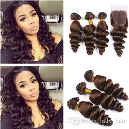 Malaysian Chocolate Brown 4x4 Lace Front Closure With 3bundles Loose