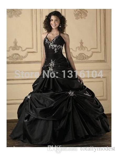 Abiti da sposa Bridal Gothic Black Abiti da sposa Abiti da sposa colorati Halter Ball Gown Corsetto Ricamo Taffetà Vintage Vita colorato Abiti da sposa