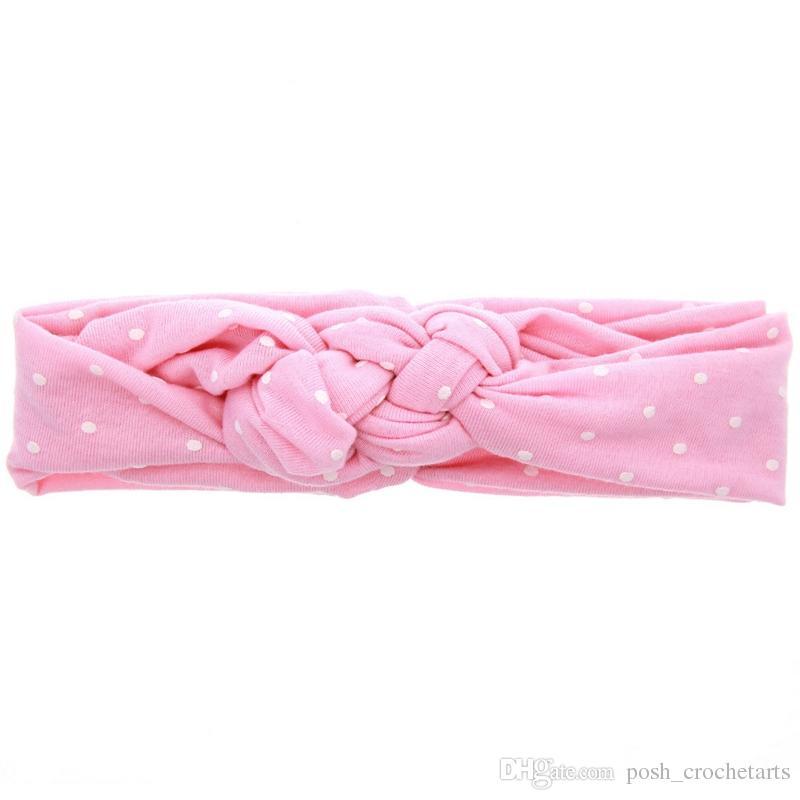 Cotton Baby Girls Turban Polka Dots Twist Headbands for Daily Handmade Head Bands Cute Hair Accessories Headwrap Newborn
