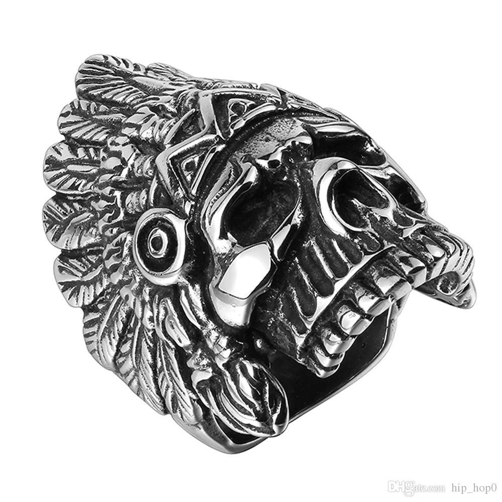 Punk Indian Schädel Männer Motor Finger Ringe Mysterious Chief Schädel Kopf Titan Stahl Ringe Silber Überzogene Top-qualität Edelstahl Männer Geschenk