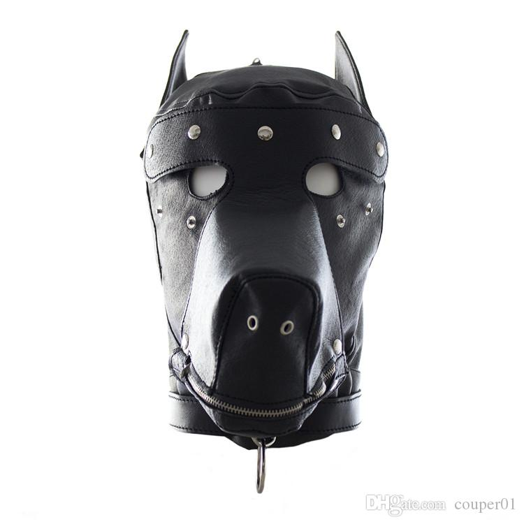 Fetish Leather SM Hood Dog Mask Head Harness Sex Slave Collar Leash Mouth Gag BDSM Bondage Blindfold Sex Toys For Couple Au Reve