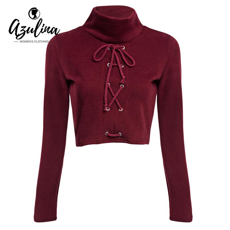AZULINA Sexy Lace Up High Neck Ribbed Short Crop Top Women Turtleneck Long Sleeve Knitted Tee Shirt Femme White Black Red Tshirt