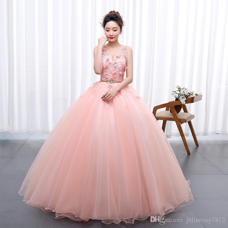 Compre Flores Rosas Appliqued Baratos Vestidos De Baile Largo 2017 ...