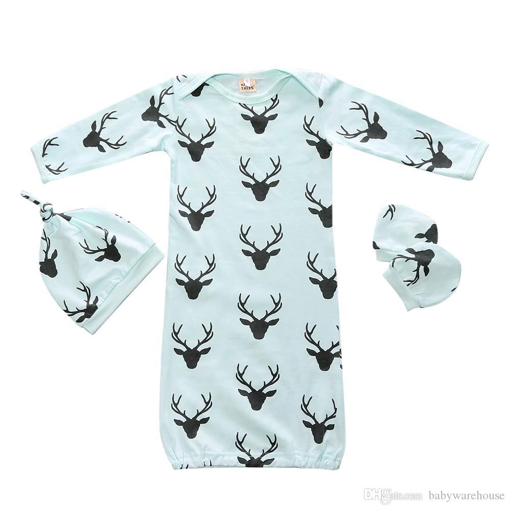 Saco de dormir de Navidad para bebé Swaddle Saco de dormir con guantes a juego Sombrero 3 UNIDS Pijamas Ropa para niños Ropa de invierno para niñas