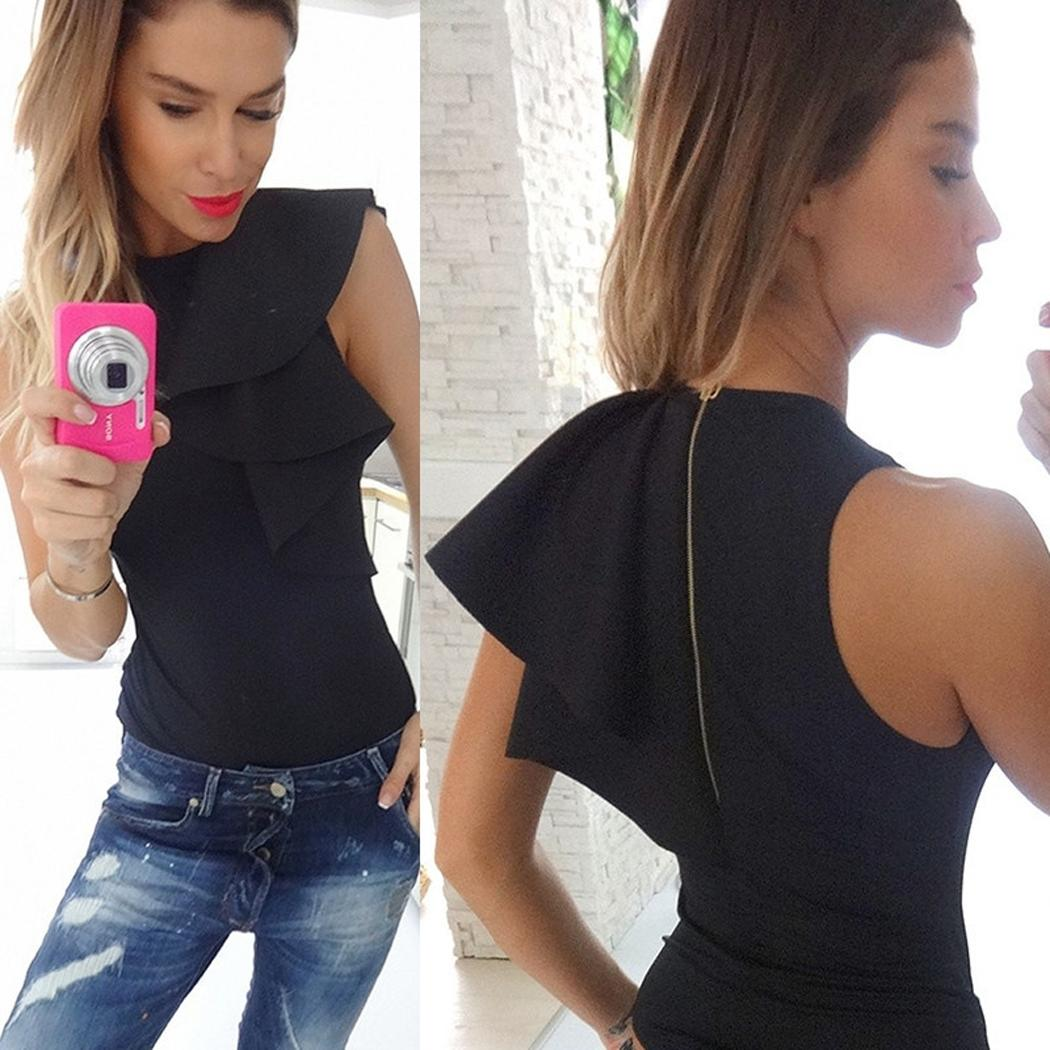 fashion new arrival women clothing Ladies Casual O-Neck Petal Sleeve Solid Rompers Jumpsuit Bodysuit black and white top