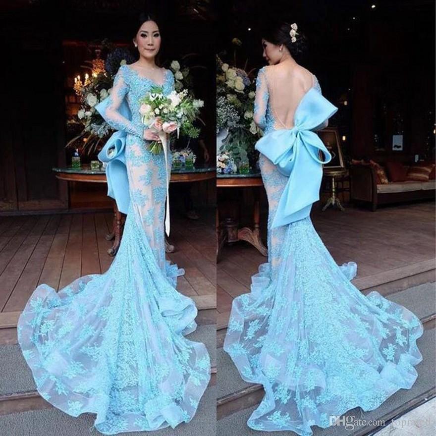 Azul Longo Sereia Vestidos de Noite com Grande Arco Ilusão Sem Encosto Longo Trian Mulheres Evening Formal Vestido de Festa Zuhair Murad Sereia Vestidos 2019