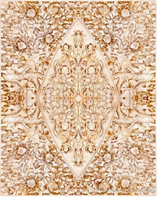 3d stereoscopic floor wallpaper Custom 3d floor photo wallpaper murals Peony relief stone pattern living room wallpaper 3d floor murals