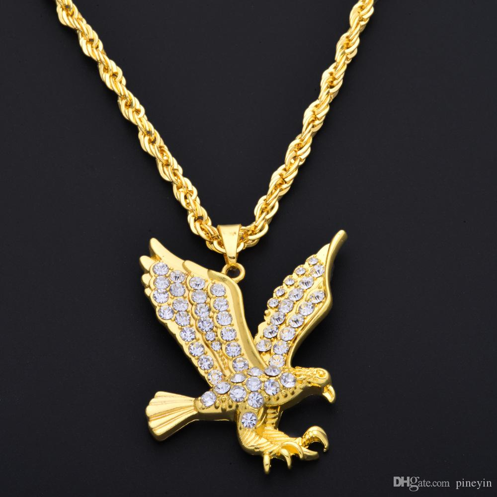 White gold eagle pendant online white gold eagle pendant for sale hip hop gold eagle pendant necklace gold full of rhinestone hiphop rock style long necklace for men woman ne779 mozeypictures Choice Image