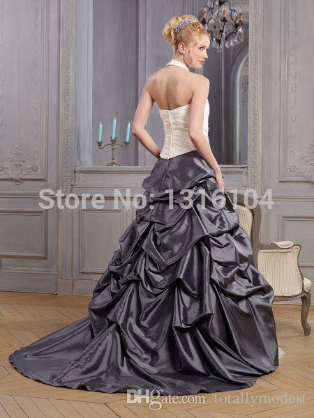 Abito da sposa colorato bicolore bianco e grigio a buon mercato con abito da sposa a trapezio in taffettà a bolle di colore A-line Sweep non bianco