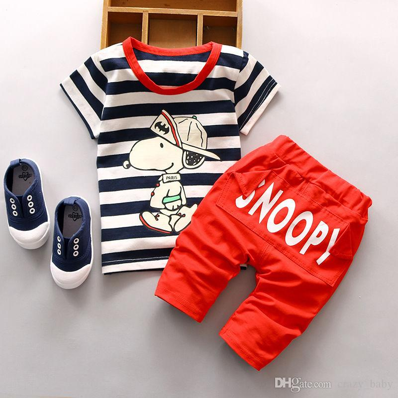 Baby Boy Girls Cotton Dog T-shirt Hooded Pants Toddler Clothes Set Outfits