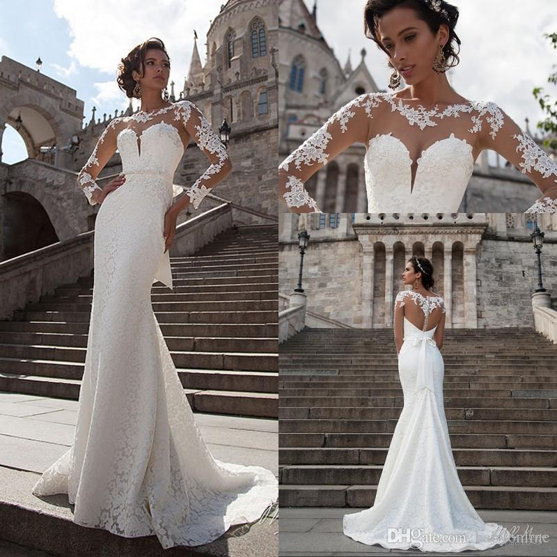 20380f34fb4 2018 Lace Mermaid Wedding Dresses Sheer Long Sleeves Summer Beach Bridal  Gowns Beaded Sash Tulle Back Wedding Dress Collections Wedding Dress Gown  From ...
