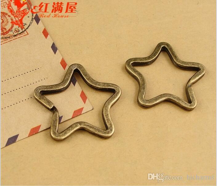 35*34MM Antique bronze plated metal keychain, star-shaped split key ring key holder ZAKKA star bracelet clasps and hooks for jewelry making