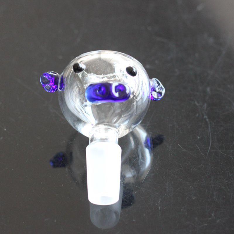 Cochon de verre de cochon bleu cochon 14mm 18mm plate-forme pétrolière conjointe bongs Pipe d'eau de verre Pipe à huile Ashcatcher artificielle soufflage