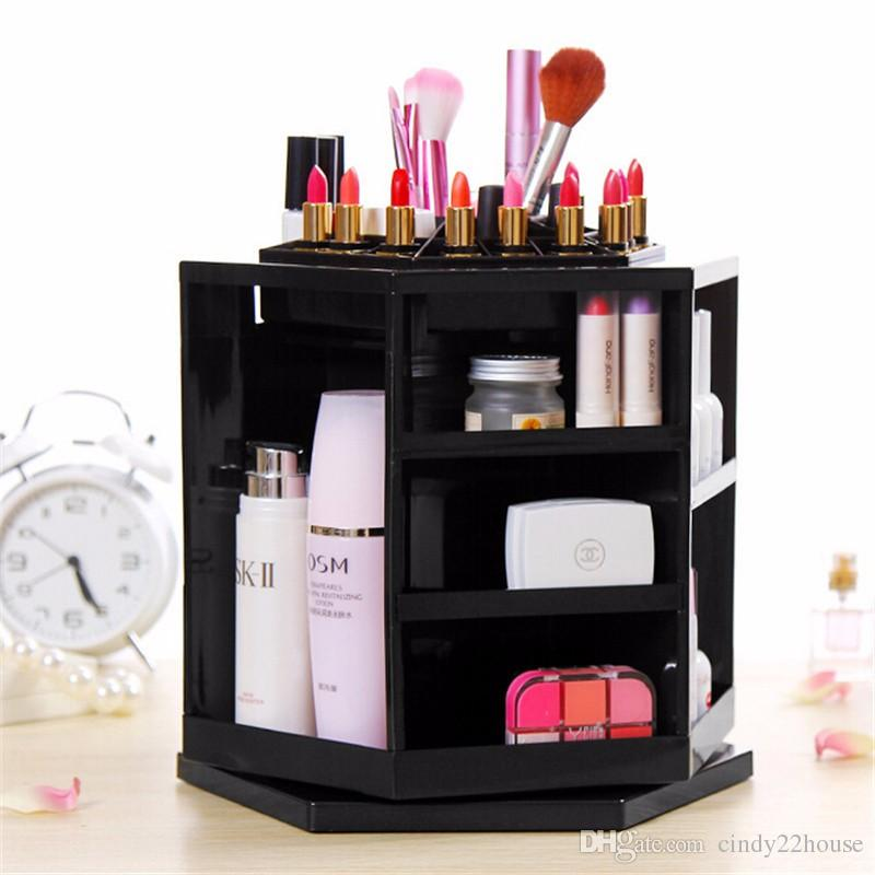 Luxury Spinning Cosmetics Organizer Abs Plastic Tabletop 360 Degree Display Box Storage Holders Makeup Stand