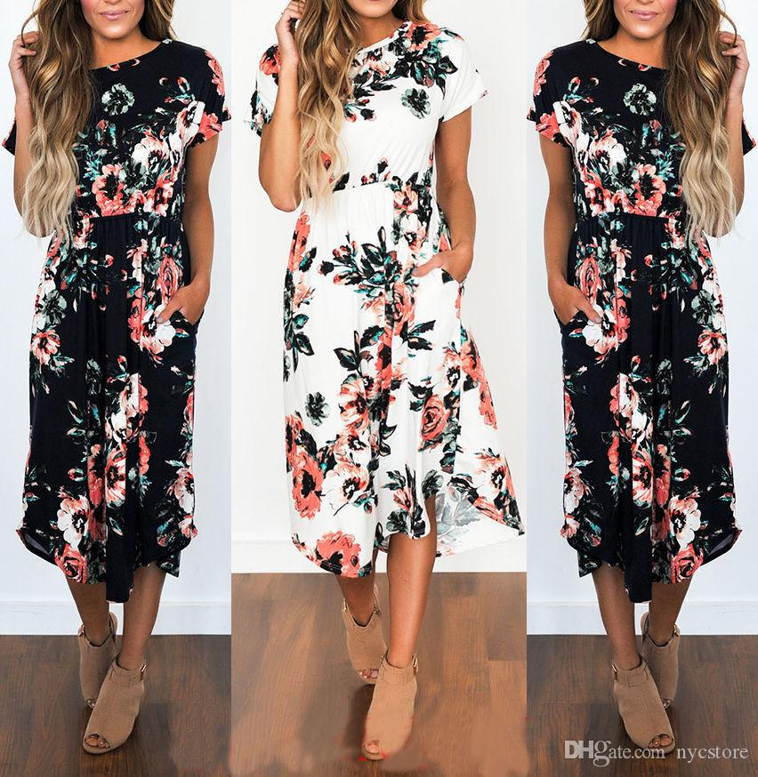f0fbb366bd5b Fashion Summer Short Sleeve Floral Print Bohemia Beach Midi Dresses For Women  Summer Evening Dresses Ladies Cocktail Dresses From Nycstore
